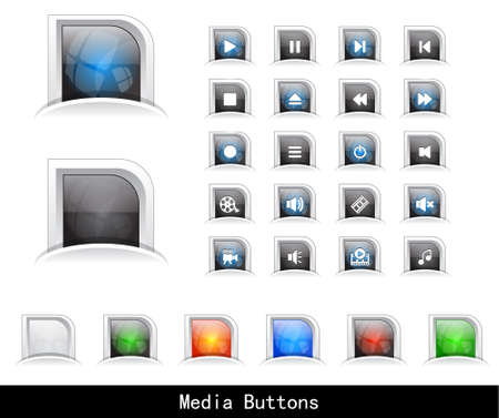 Set of media buttons. Vector. Stock Vector - 9354420