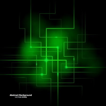 constructive: Vector illustration of futuristic green abstract glowing background