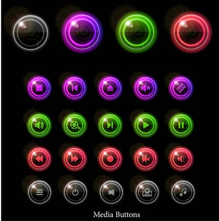 Neon glossy media buttons. Vector illustration eps10. Vector