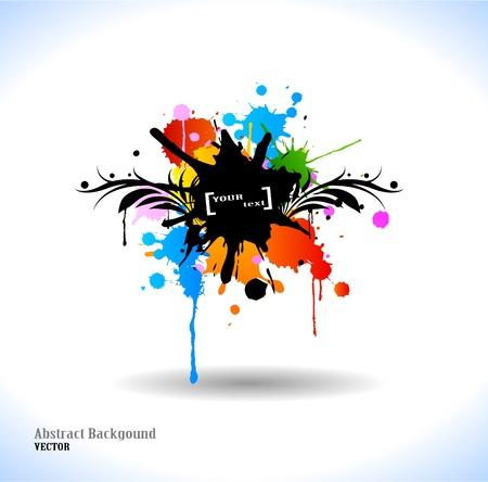 Colour cool grunge floral poster. Vector illustration.