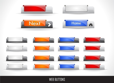 Set of color plastic buttons for web. Vector illustration.