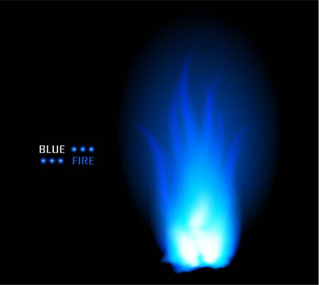 Blue fire ball flame burn vector background