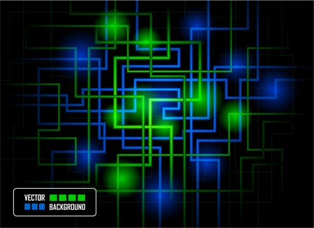 Vector hi-tech concept against dark background, colored in blue and green Illustration