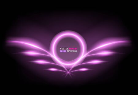 Abstract neon frame with wings. Vector illustration