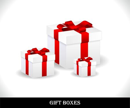 Set of beautiful gift boxes. Vector illustration