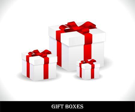 pr�sentieren: Satz von sch�nen Geschenk-Boxen. Vektor-illustration
