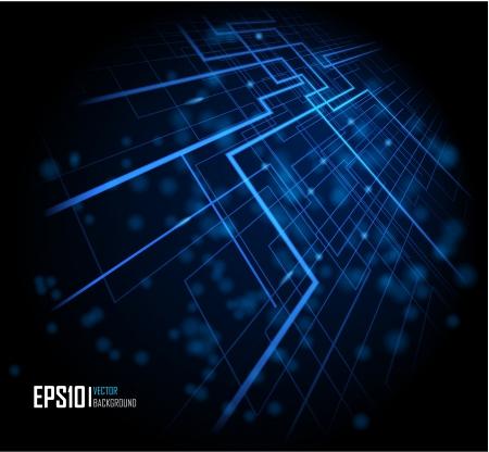 Ilustración vectorial de fondo brillante abstracta azul futurista