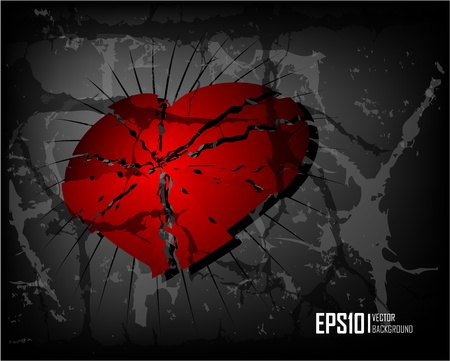 heart broken: Dark scratch grunge background with broken heart. Vector illustration eps10