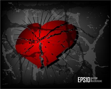corazon roto: Fondo oscuro grunge de memoria virtual con el coraz�n roto. Eps10 de ilustraci�n vectorial