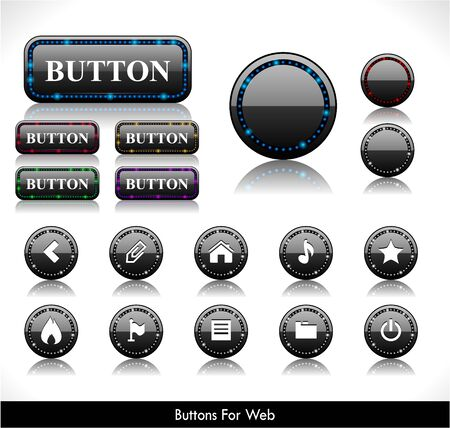 Set of black led plastic buttons for web. Vector illustration.