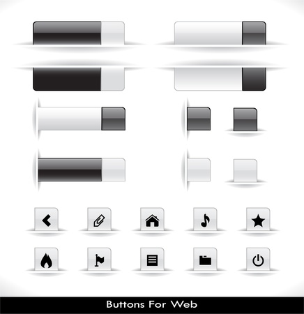 Set of grey plastic buttons for web. Vector illustration. Illustration