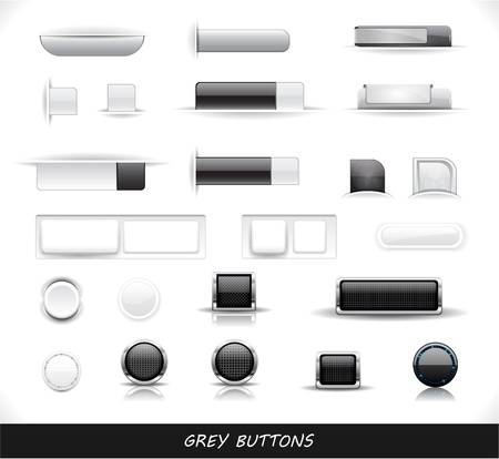 Set of grey buttons. Vector eps10  illustration. Vector