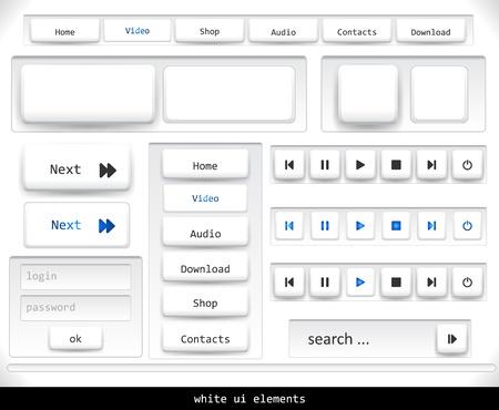 Set van witte UI-elementen.