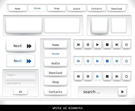 Set of white ui elements.