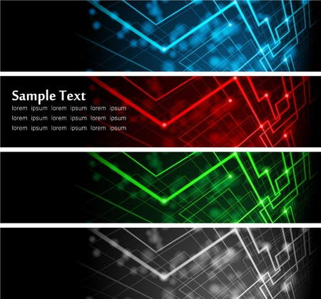 illustration of futuristic color abstract glowing banners