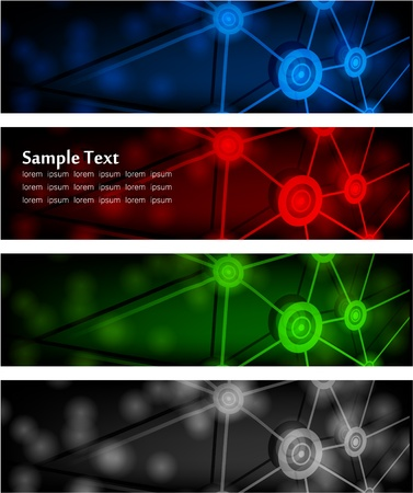 illustration of futuristic color abstract glowing banners Illustration