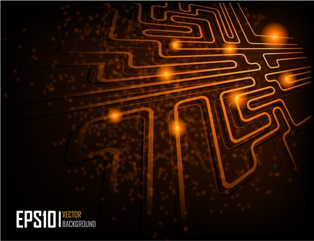 illustration of futuristic orange abstract glowing background Vector