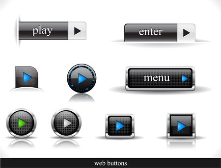 music buttons: Set of dark buttons. Vector eps10  illustration.