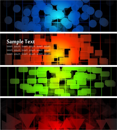 illustration of futuristic color abstract glowing banners Vector