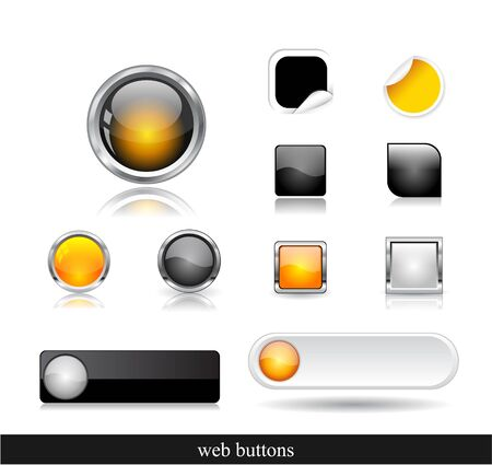 Set of dark buttons.  Vector