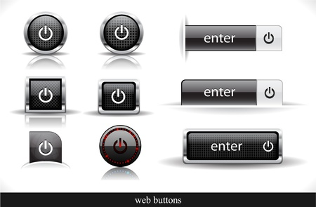 Set of dark buttons. Vector eps10  illustration. Vector