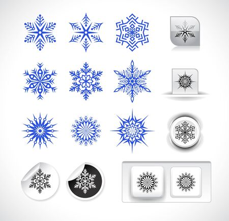set of snowflake shapes isolated on white background. Vector