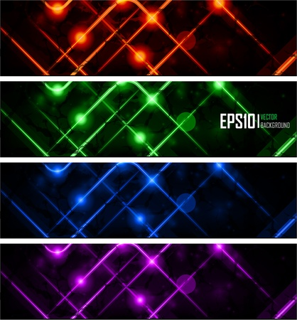 constructive: Vector illustration of futuristic color abstract glowing banners
