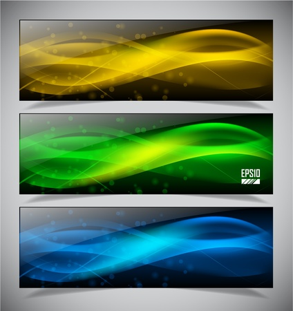 Vector illustration of futuristic color abstract glowing banners Vector