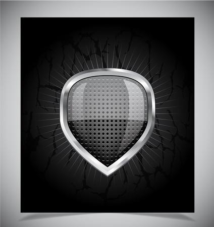 governmental: Brillante negro de humo emblema de escudo sobre fondo negro