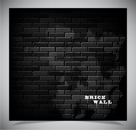 Dark old black brick wall, vector illustration Stock Vector - 13442162