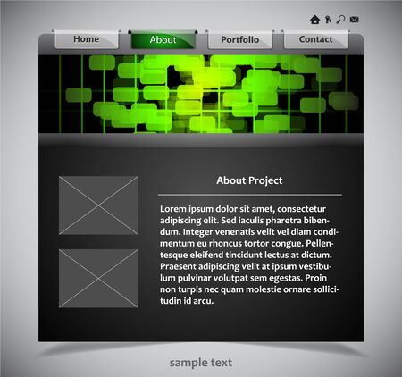 website template in black and green colors. Vector illustration. Vector