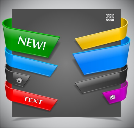 product reviews: set of color plastic ribbons. Vector illustration