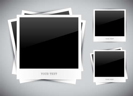 Set of empty photos on grey background Stock Vector - 13442144