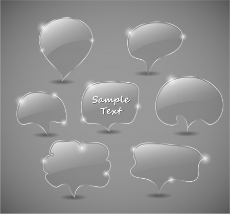 Set of transparent glass speech bubbles illustration