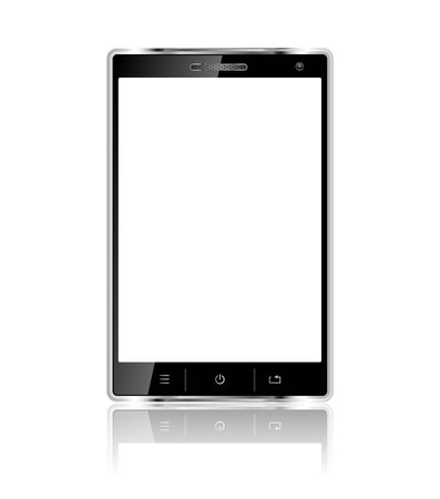 Realistic mobile phone with blank screen isolated on white background Vector