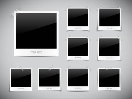 picture album: Set of empty photos on grey background
