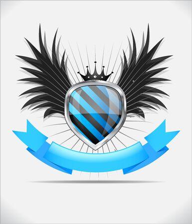 governmental: Brillante escudo negro y azul, emblema sobre fondo blanco