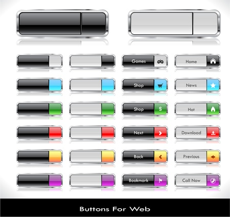 Set of color plastic buttons for web illustration. Stock Vector - 13886648