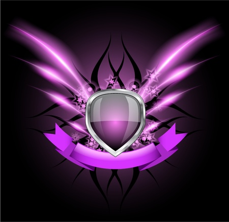 Glossy black shield emblem on dark background Vector