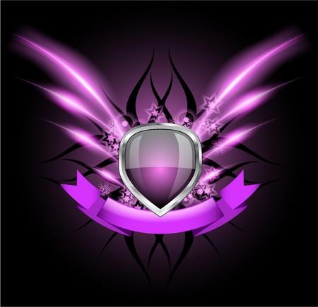 shield emblem: Glossy emblema scudo nero su sfondo scuro Vettoriali