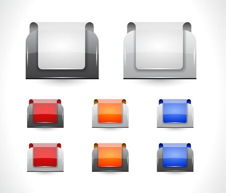 Set of color plastic buttons for web illustration. Stock Vector - 13886662