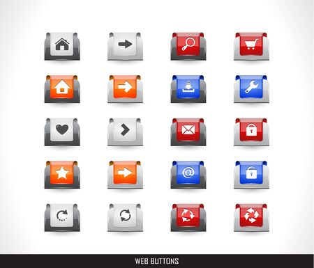 Set of color plastic buttons for web illustration. Stock Vector - 13886675