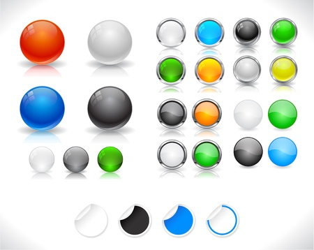 Set of color plastic buttons for web illustration. Vector