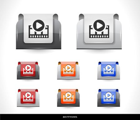 Set of color plastic buttons for web illustration. Stock Vector - 13886663