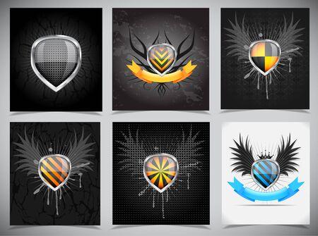 Set of bakcgrounds with shields Stock Photo - 14648202