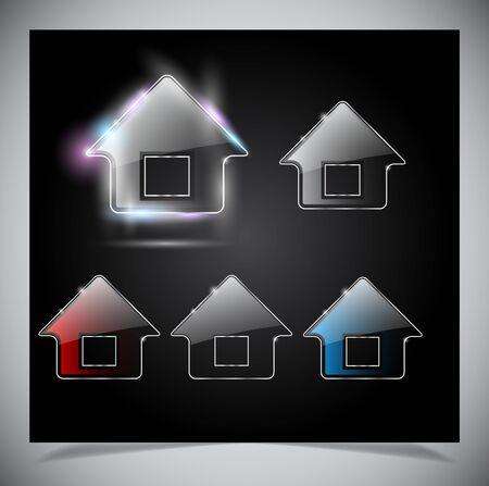 Glass shiny house icon Stock Vector - 15315272