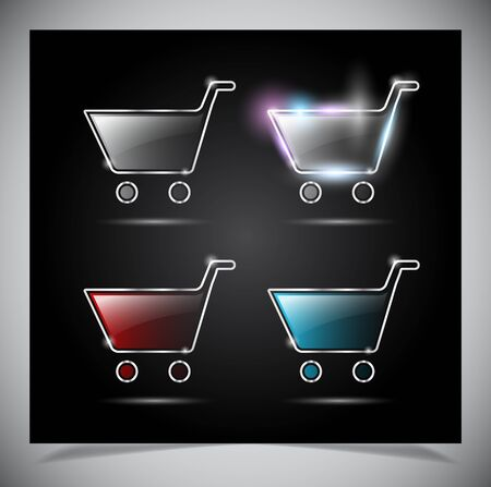 glass glowing transparent icon, isolated on black background Vector