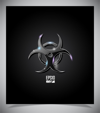 Transparent glass biohazard sign against black background Stock Vector - 15315230