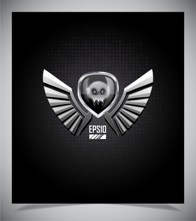 3d shield: Shield with skull and wings on a dark background.