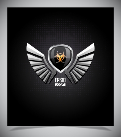 explosives: Shield with skull and wings on a dark background.